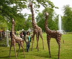 large and metal painted giraffe sculpture garden sculptures