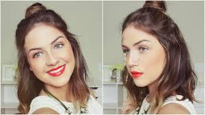 top medium length hairstyles half up half down top knot hair tutorial loveshelbey youtube