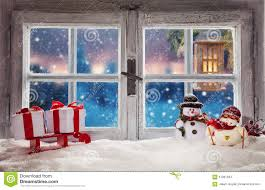 atmospheric christmas window sill decoration stock photo image