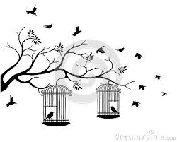 bird flying away from cage silhouette