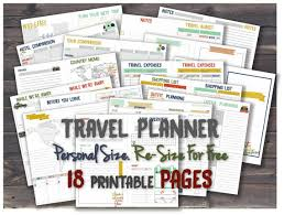 printable planner diary travel planner printable journal inserts road trip itinerary