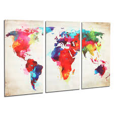World Map Artwork by 3pcs Colorful World Map Frameless Canvas Print Mural Painting Home