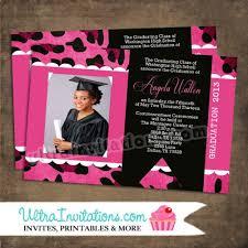 graduation anouncements graduation announcements pink custom photo leapord printable or
