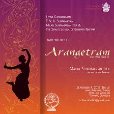 Arangetram Invitation Cards Samples Malini Subramaniam Iyer September 4