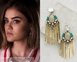 pretty liars earrings pretty liars season 6 episode 19 s teal gold fringe