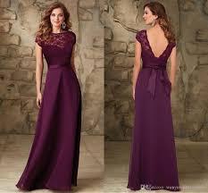 plum wedding dresses maroon bateau cap sleeves bridesmaids gowns backless floor length