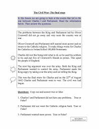 short term causes of the english civil war year 8 study worksheet