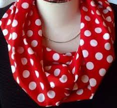 black white and silver circles dots on red scarves