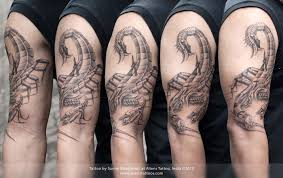 mechanic tattoos biomechanical scorpion tattoo by sunny bhanushali at aliens tattoo