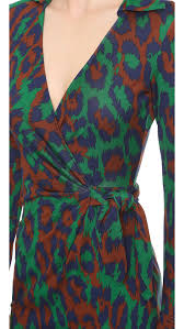 diane von furstenberg savannah wrap dress leopard medium green