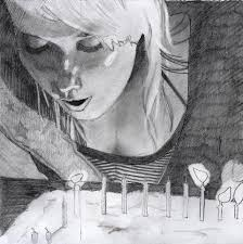 cake and fire pencil sketch