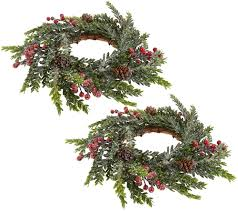 set of 2 iced hemlock candle rings with berries by valerie page