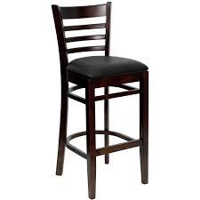 Modern Wood Bar Stool Furniture Black Walnut Wood Bar Stool With Ladder Backrest Pine
