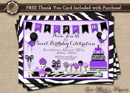 Sweet 16 Invitation Cards Sweet 16 Invitation Birthday Invitation Zebra Birthday