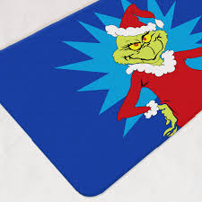 Christmas Bathroom Rugs The Grinch Decor Bath Mat Bathroom Rug Dr Seuss Santa Mat