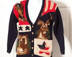 American Flag Cardigan Vintage American Flag Clothing Etsy