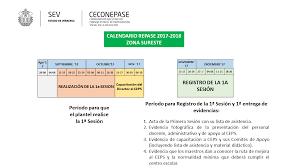 calendario de registro de la 1a sesión y calendario de registro