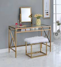 Staten Glass Corner Desk by Lismore Contemporary Champagne Metal Glass Vanity W Stool