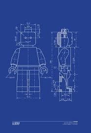 What Size Paper Are Blueprints Printed On by Lego Man Art Print Lego Minifigure Typical Blueprint Technical