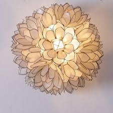 pair of capiz mother of pearl shell wall lamp or flush mount by