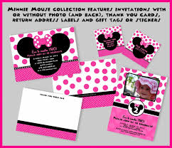 template stylish minnie mouse birthday invitations with photo