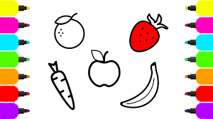 how to draw set of healthy food for kids fun colouring apple
