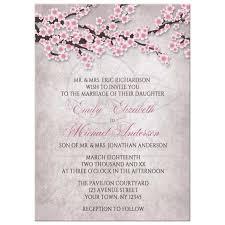 invitations rustic pink cherry blossom