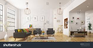 modern interior living room scandinavian style stock illustration