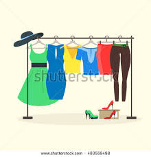 for clothes clothes racks women wear on hangers stock vector 483559498