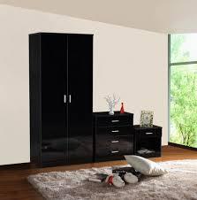 Bedroom Sets With Wardrobe Gladini Black High Gloss 3 Piece Bedroom Furniture Set Wardrobe