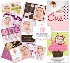 mini template pack 10 girls 1st birthday photo invitation designs