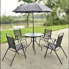 patio table with 4 chairs garden patio furniture set 4 chairs glass table parasol textilene