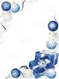 silver blue christmas present bauble vertical frame stock vector