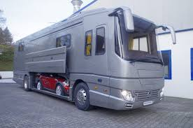 volkner rv lavish motorhome features its very own supercar garage allowing