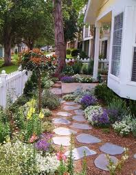 landscape ideas for a small front yard with stone steps brown