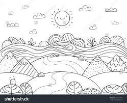 cute cartoon meadow mountain bunny river stock vector 557987713
