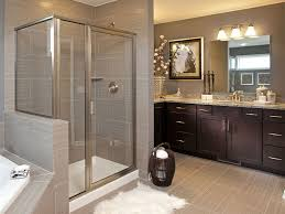 contemporary master bathroom with high ceiling u0026 flat panel
