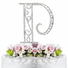swarovski crystal wedding cake topper letter p