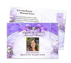 funeral invitation template free funeral announcement templates memorial service postcards