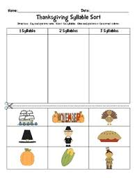 thanksgiving literacy activity syllable sort by primary treasures
