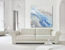 art home decor original art modern blue white abstract painting marbled gold leaf