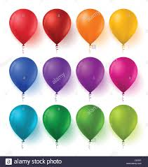 Vector Set of Colorful Birthday Balloons with Bright Glossy and