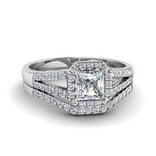 princess cut wedding set halo princess cut diamond split shank wedding set in 14k white