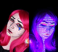 pop art black light halloween makeup w tutorial by katiealves on