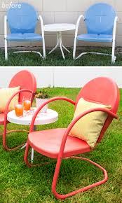 Old Fashioned Metal Outdoor Chairs by Retro Metal Patio Chair And Table Makeover Patios Retro And