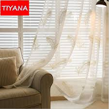 white embroidered feather window treatment tulle curtains fabric