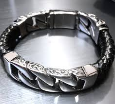 chain bracelet with leather images Leather and stainless steel curb chain bracelet killer jewelry jpg