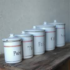 les volets ouverts vintage french kitchen enamel canisters