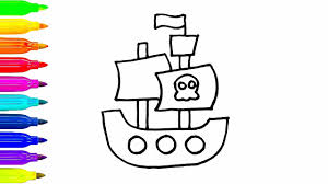 pirate ship drawing kids color children
