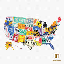 Magnetic Map Of Usa by Purchase Usa License Plate Maps By Design Turnpike License Plate